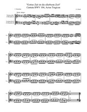 Bach, Actus tragicus, 'Gottes Zeit', Gamba parts transcribed for cellos, in Eb